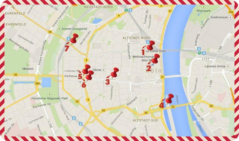 Stadtkarte mit Markierungen
