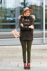 All Green Zara dufflecoat, Primark hat, Tamaris boots 2