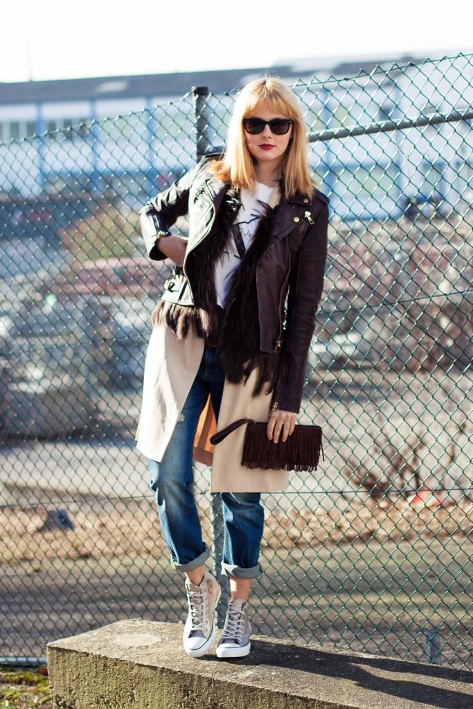 Outfit Young, wild & free - Calvin Kleid T-Shirt, Lederjacke, Long Blazer, Converse Chucks 1