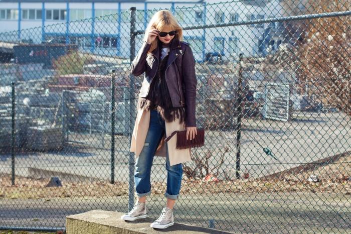 Outfit Young, wild & free - Calvin Kleid T-Shirt, Lederjacke, Long Blazer, Converse Chucks 2