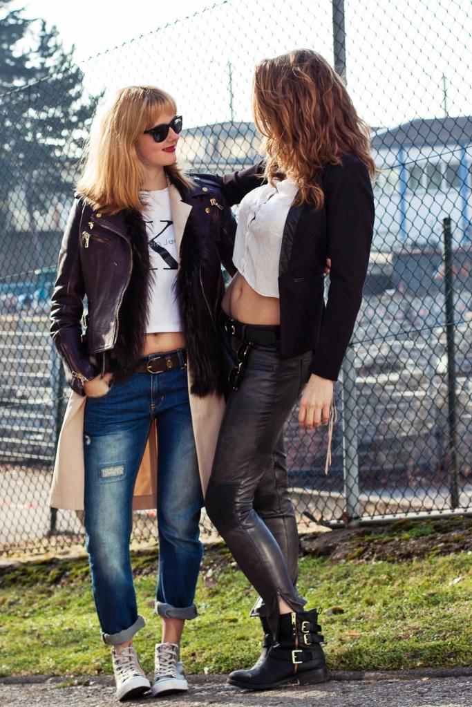 Outfit Young, wild & free - Calvin Kleid T-Shirt, Lederjacke, Long Blazer, Converse Chucks 7